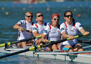 Photo - Andrew Johnson, second from left, and Emma Preuschl, third from left, will represent the United States in the Paralympic Games that start Aug. 29 in London. The two rowers train at the Boathouse District in Oklahoma City.  PHOTO PROVIDED BY Allison Frederick