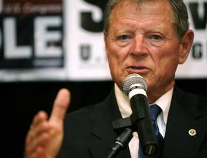 photo - Senator  Jim  Inhofe speaks during the Republican watch party at the Oklahoma City Marriott on Northwest Expressway in Oklahoma City on Tuesday Nov. 4, 2008. By John Clanton, The Oklahoman