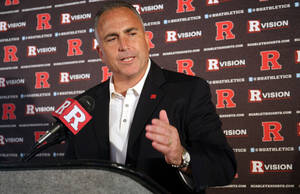 Photo - Rutgers football coach Kyle Flood speaks to reporters during the NCAA college football team's media day, Sunday, Aug. 10, 2014, in Piscataway, N.J. (AP Photo/Home News Tribune, Jason Towlen) NEWARK OUT;  NO SALES