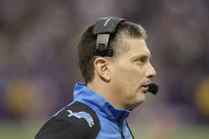 Photo - FILE - In this Dec. 29, 2013 file photo, Detroit Lions head coach Jim Schwartz stands on the sidelines during the second half of an NFL football game against the Minnesota Vikings in Minneapolis. Schwartz was fired from the Detroit Lions on Dec. 30, a day after the Lions missed the playoffs with a 7-9 record. The Buffalo Bills announced Friday, Jan. 24, 2014, that they reached a deal with Schwartz as defensive coordinator. (AP Photo/Jim Mone, File)