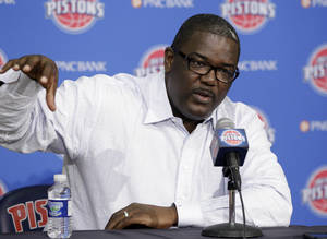Photo -   Joe Dumars, Detroit Pistons president of basketball operations, addresses the media at the team's NBA basketball practice facility in Auburn Hills, Mich., Friday, April 27, 2012. (AP Photo/Carlos Osorio)