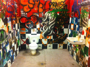 Photo - This mock bathroom, in the studio at Oklahoma City Community College's Visual and Performing Arts Center, was patterned after one a student saw and photographed with her phone, in New York City. <strong>Richard Mize - The Oklahoman</strong>