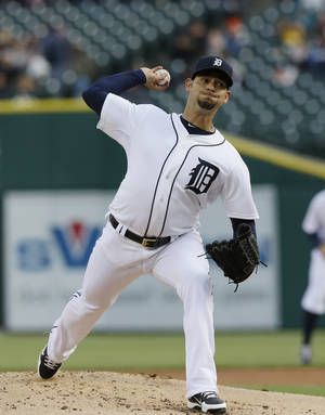 Photo - Detroit Tigers starting pitcher Anibal Sanchez throws during the first inning of a baseball game against the Cleveland Indians in Detroit, Wednesday, April 16, 2014. (AP Photo/Carlos Osorio)