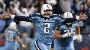 Photo - FILE - This Dec. 3, 2006 file photo shows Tennessee Titans kicker Rob Bironas (2) running off the field after kicking a 60-yard field goal to beat the Indianapolis Colts 20-17  in an NFL football game in Nashville, Tenn. The Titans announced Wednesday, March 19, 2014, that they have waived Bironas. (AP Photo/Mark Humphrey, File)