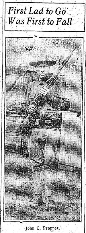 Photo - This reproduction of the photograph from The Oklahoman shows Pvt. John C. Propper ready to serve his country. - FROM THE OKLAHOMAN ARCHIVES <strong></strong>
