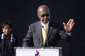 "photo - Republican presidential candidate Herman Cain announces he is suspending his campaign as his wife Gloria, left, looks on Saturday, Dec. 3, 2011, in Atlanta. ""I am suspending my presidential campaign because of the continued distractions and the continued hurt caused on me and my family,"" Cain told several hundred supporters gathered at what was to have been the opening of his national campaign headquarters. (AP Photo/David Tulis) ORG XMIT: GADT103"