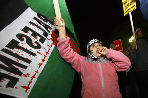 Photo -   Karima Traish, 8, of Ashburn, Va., whose parents are Palestinian, protests against Israel's military action in Gaza, outside of the White House in Washington on Friday, Nov. 16, 2012, with a group of people organized by the ANSWER Coalition. (AP Photo/Jacquelyn Martin)