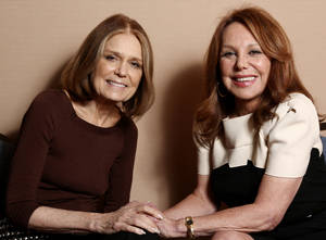 "Photo - In this Tuesday, Jan. 15, 2013 photo, Gloria Steinem, left, and Marlo Thomas, from the program ""Makers: Women Who Make America,"" pose together for a portrait during the PBS Winter TCA Tour at the Langham Huntington Hotel, in Pasadena, Calif. ""Makers: Women Who Make America,"" a three-hour PBS documentary about the fight for women's equality, airs Tuesday, Feb. 26, 2013, and features prominent activists including Steinem and Thomas. (Photo by Matt Sayles/Invision/AP)"