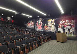 Photo - The Andrew Luck Auditorium, seen during a media tour Thursday, Oct. 3, 2013, in Stanford, Calif., is part of the new $21 million addition to the Stanford football facility. The meeting room is named after the former Stanford quarterback drafted by the Indianapolis Colts in 2012. (AP Photo/Antonio Gonzalez)
