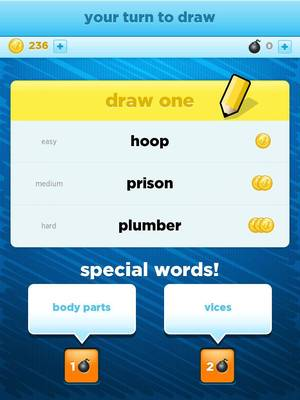 "Photo - This screen shot from the ""Draw Something"" mobile application shows an example of choices offered to players before they start drawing. <strong></strong>"