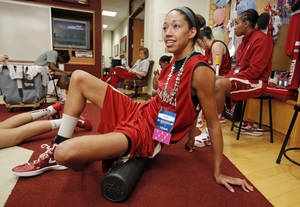 Photo - NCAA WOMEN'S COLLEGE BASKETBALL TOURNAMENT: University of Oklahoma (OU) women's basketball player Nicole Griffin warms up before practice for first round of the NCAA Women's Basketball Championship Tournament at the Lloyd Noble Center on Saturday, March 17, 2012, in Norman, Okla.   Photo by Steve Sisney, The Oklahoman