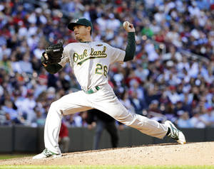 Photo - Oakland Athletics starting pitcher Scott Kazmir delivers to the Minnesota Twins during the sixth inning of a home opener baseball game in Minneapolis, Monday, April 7, 2014.  (AP Photo/Ann Heisenfelt)