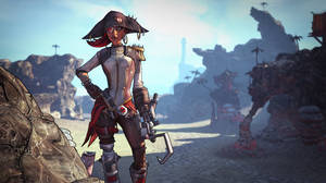 "Photo -   This undated publicity image released by 2K Games shows ""Captain Scarlett and Her Pirate's Booty"" downloadable content in the video game, ""Borderlands 2."" The pirate-themed add-on campaign is setting sail Tuesday, Oct. 16, 2012, for the Gearbox Software shoot-and-loot sequel released by 2K Games last month. The downloadable content focuses on the one-eyed pirate queen Captain Scarlett and is set amid an expansive desert that features a bandit-filled shanty town called Oasis. (AP Photo/2K Games)"