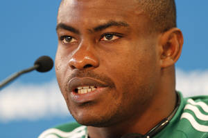 Photo - Nigeria's goalkeeper Vincent Enyeama speaks during a news conference at Beira-Rio Stadium in Porto Alegre, Brazil, Tuesday, June 24, 2014.  Nigeria plays in group F of the 2014 soccer World Cup. (AP Photo/Victor R. Caivano)
