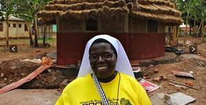 "Photo -  The life and ministry of Sister Rosemary Nyirumbe, shown here in a Ugandan village, is the focus of the documentary ""Sewing Hope."" Photo provided   <strong></strong>"