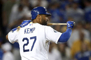 photo -   Los Angeles Dodgers' Matt Kemp walks toward the dugout after he struck out in the sixth inning of a baseball game against the San Francisco Giants in Los Angeles, Monday, Aug. 20, 2012. (AP Photo/Jae C. Hong)