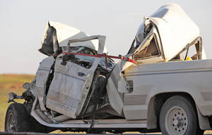 Photo - Pickup truck that hit a Chickasha School bus on State Highway 62 east of Chickasha, Monday, October 15, 2012. Photo By David McDaniel/The Oklahoman