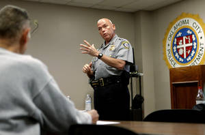 Photo - Oklahoma CIty Police Master Sgt. Charles Epperly  teaches a neighborhood patrol class. Photo by Bryan Terry, The Oklahoman <strong>Bryan Terry - THE OKLAHOMAN</strong>