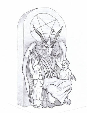 Photo - This artist's rendering provided by the Satanic Temple shows a proposed monument that the New York-based Satanic group wants to place at the Oklahoma state Capitol. The statue features a bearded, goat-headed demon sitting in a pentagram-adorned throne with children next to it. <strong> - AP PHOTO</strong>