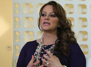 Photo - FILE - In this March 8, 2012, file photo, Mexican-American singer and reality TV star Jenni Rivera speaks during an interview in Los Angeles. The remains of Mexican-American music star Jenni Rivera, who died in a plane crash in Mexico on Sunday, were headed back to the United States after being identified by her family, state officials of the Mexican State of Nueva Leon said Thursday, Dec. 13, 2012. (AP Photo/Reed Saxon, file)
