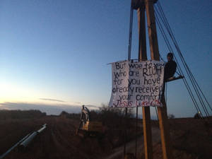 photo - Stefan Warner is protesting construction of the Keystone XL pipeline near Schoolton. Photo provided <strong></strong>