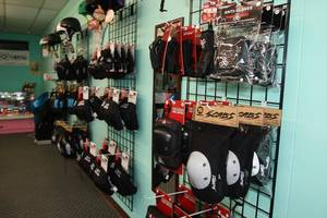 Photo - Gear for sale at Switchblade Skate Co., located at 2132 Interstate 240 Service Road, is shown.  PROVIDED