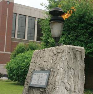 Photo - The eternal flame at the Rogers County Courthouse in Claremore is being temporarily relocated until its new local is prepared. (Claremore Daily Progress reported)