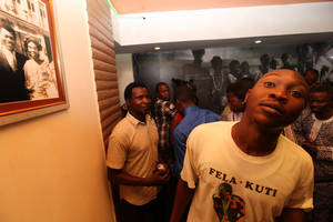 Photo -   Seun Kuti, the son of Late Afrobeat Legend Fela Kuti, attends opening of Kalakuta Museum in Lagos, Nigeria, on Monday, Oct. 15, 2012. The family of late Afrobeat singer Fela Anikulapo-Kuti celebrated the opening of the Kalakuta Museum on Monday in Lagos in the home the musician once lived in. The opening of the museum comes during Felabration, an annual music festival honoring the singer. (AP Photo / Sunday Alamba)