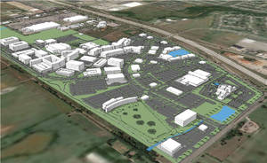 Photo -  A view of plans shows the 180-acre Chisholm Creek development at N Western and Memorial Road.   <strong></strong>