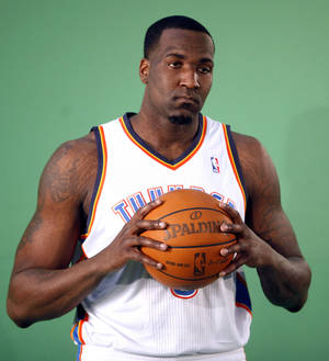 photo - Oklahoma City&#039;s Kendrick Perkins films video segments at the the Thunder practice facility, Saturday, Feb, 26, 2011, in Oklahoma City.Photo by Sarah Phipps, The Oklahoman