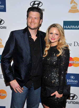 Photo - Left: Blake Shelton is nominated in the Best Country Solo Perfomance category. Miranda Lambert is nominated in the Best Country Album category. AP file photo