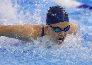 Photo - Edmond North's Ally Robertson competes in the Girls Class 6A 200 yard independent medley event in the state swim meet at the Edmond Schools Aquatic Center in Edmond, Saturday, Feb. 22, 2014. Photo by Bryan Terry, The Oklahoman