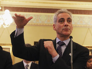 Photo - FILE - In this May 8, 2012 file photo, Chicago Mayor Rahm Emanuel testifies during the House Committee Hearing on Personnel and Pensions at the Capitol in Springfield, Ill. Late Monday , March 31, 2014, Emanuel proposed to raise property taxes while increasing the amount of money city workers contribute to their retirement as a way to cut about half of the city's pension debt. (AP Photo/Seth Perlman, File)