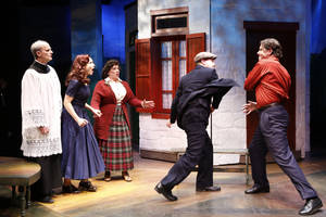 "Photo - This theater image released by Shirley Herz Associates shows, from left, David Sitler, Jenny Powers, Kathy Fitzgerald, Ted Koch and James Barbour, in a scene from the musical ""Donnybrook"", performing off-Broadway at the Irish Repertory Theatre in New York.  (AP Photo/Shirley Herz Associates, Carol Rosegg)"