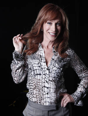 "Photo -   In this April 4, 2012 photo, comedian and Bravo TV personality Kathy Griffin poses for a portrait in New York. Griffin's new weekly talk show on Bravo ""Kathy"" premieres Thursday, April 19. (AP Photo/Carlo Allegri, file)"