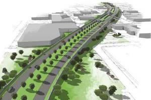 photo - An elevated downtown boulevard between Western and Walker Avenues, as shown in this drawing looking west, is advocated by the Oklahoma Department of Transportation. Drawing Provided