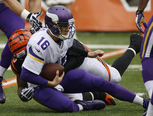 Photo - Minnesota Vikings quarterback Matt Cassel (16) is sacked by Cincinnati Bengals outside linebacker Vontaze Burfict during the second half of an NFL football game, Sunday, Dec. 22, 2013, in Cincinnati. (AP Photo/David Kohl)