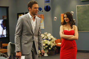 "Photo - This publicity photo released by NBC shows Joel McHale as Jeff and Alison Brie as Annie in Episode 411 ""Advanced Intro To Finality"" from the TV series, ""Community."" (AP Photo/NBC, Vivian Zink)"