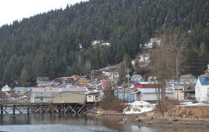 Photo - Downtown Hoonah, Alaska, seen here March 19, 2014, is about 1.5 miles from Icy Strait Point, the Huna Totem Corporation-owned facility where the proposed cruise ship and marine vessel dock is to be located. (AP Photo/Mary Catharine Martin, Capital City Weekly via The Juneau Empire)