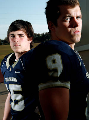 Photo - Heritage Hall's Logan McGrath (right) and Travis Harrison (left) are two of just six seniors on the Chargers' roster this season.  Photo by John Clanton, The Oklahoman