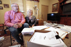 "photo - RANDY WRIGHT: Randy and Debbie Wright talking about their ""open records"" struggle with Yukon Public Schools, Thursday, February 7, 2013.   Photo By David McDaniel/The Oklahoman"