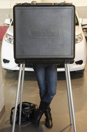 Photo -   An unidentified person votes at a polling place located inside a car dealership in La Vista, Neb., Tuesday, Nov. 6, 2012. (AP Photo/Nati Harnik)