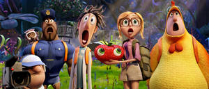 "Photo - This film image released by Sony Pictures Animation shows characters, from left, Manny, voiced by Benjamin Bratt, Steve the Monkey, voiced by Neil Patrick Harris, Earl, voiced by Terry Crews, Flint, voiced by Bill Hader, Barry the Strawberry,  voiced by Cody Cameron, Sam Sparks, voiced by Anna Faris and Brent, voiced by Andy Samberg in a scene from ""Cloudy with a Chance of Meatballs."" (AP Photo/Sony Pictures Animation) ORG XMIT: NYET815"