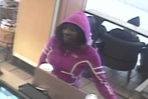 Photo - A woman police believe was involved in a robbery was photographed at a Starbucks about the time of the robbery. PHOTO PROVIDED BY OKLAHOMA CITY POLICE <strong></strong>