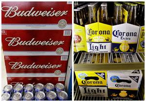 photo - This combination of Associated Press file photos show Budweiser beer in the aisles of Elite Beverages in Indianapolis, and Constellation Brands Corona beers displayed at a liquor store in Palo Alto, Calif. The Justice Department on Thursday, Jan. 31, 2013,  filed a lawsuit to stop Anheuser-Busch InBev's proposed $20.1 billion purchase of Mexican brewer Grupo Modelo, which would unite the ownership of popular beers like Budweiser and Corona. (AP Photos)
