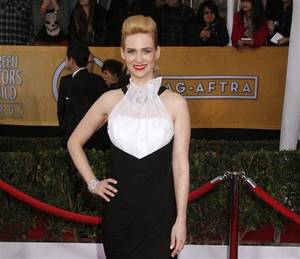 Photo - FILE - In this Jan. 27, 2013 file photo, actress January Jones arrives at the 19th Annual Screen Actors Guild Awards at the Shrine Auditorium in Los Angeles.  Jones is wearing a Prabal Gurung gown. Critics both praised and poo-pooed the bold, black and white, structured ensemble. (AP Photo/The Hollywood Reporter, Todd Williamson)
