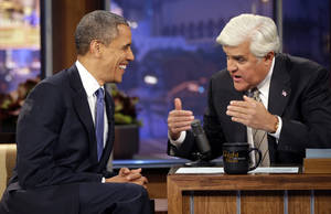 Photo -   President Barack Obama talks with Jay Leno, right, during a commercial break during the taping of his appearance on NBC's The Tonight Show with Jay Leno, Wednesday, Oct. 24, 2012, in Burbank, Calif. (AP Photo/Pablo Martinez Monsivais)