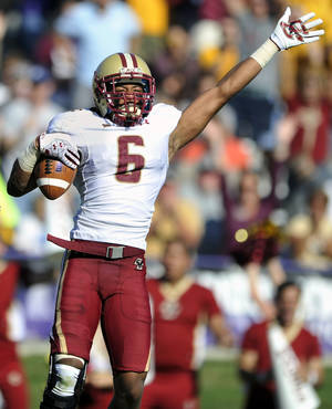 Photo -   Boston College's C.J. Jones (6), celebrates after recovering a fumble by Northwestern quarterback Trevor Siemian during the second quarter of an NCAA college football game on Saturday, Sept. 15, 2012, in Evanston, Ill. (AP Photo/Paul Beaty)