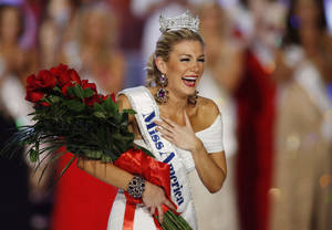 Photo - FILE - In this Jan. 12, 2013 file photo, Miss New York Mallory Hytes Hagan reacts as she is crowned Miss America 2013 in Las Vegas. Gov. Chris Christie's spokesman Michael Drewniak on Wednesday night, Feb. 13, 2013  confirmed news of the Miss America pageant's return to Atlantic City.  Lt. Gov. Kim Guadagno is scheduled make a formal announcement Thursday on Atlantic City's Boardwalk Hall. (AP Photo/Isaac Brekken, File)