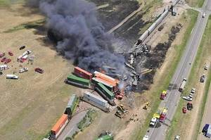 Photo - Aerial view of the site of a head-on crash of two freight trains near Goodwell Sunday that killed three people.The Guymon Daily Herald courtesy of Marit Edwards